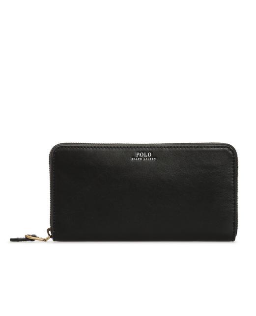Женский черный кожаный кошелек